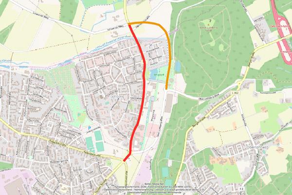 Hünxer Straße und Nordtangente (Karte Openstreetmaps © Openstreetmap-Mitwirkende)